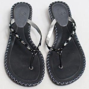 Cole Haan black sandals thong rhinestones slip ons